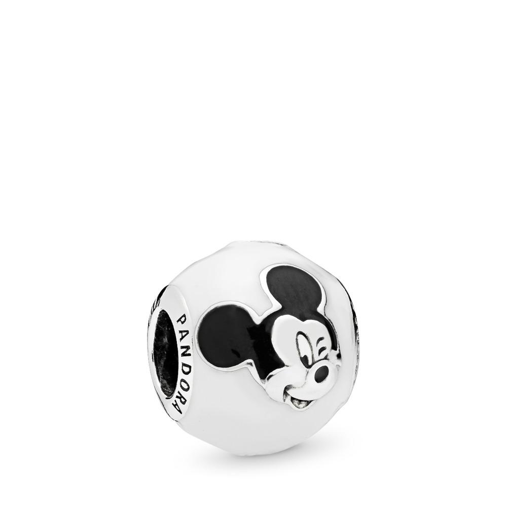 Charm Disney, Mickey s'exprime, émail blanc et noir, Argent sterling, émail, Aucune pierre - PANDORA - #796339ENMX
