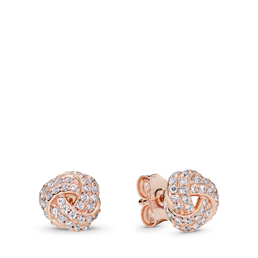 Sparkling Love Knot, PANDORA Rose™ & Clear CZ, PANDORA Rose, Cubic Zirconia - PANDORA - #280696CZ