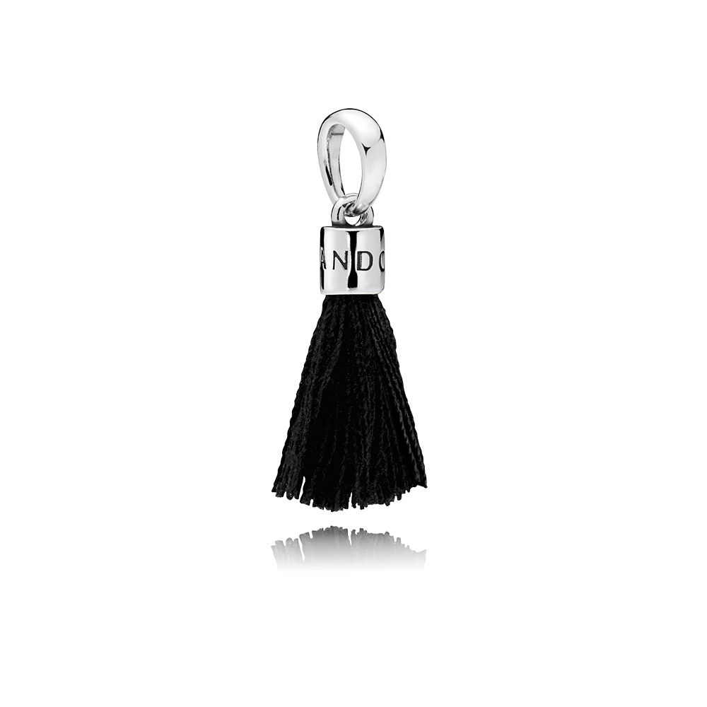 Limited Edition Black Fabric Tassel Dangle Charm