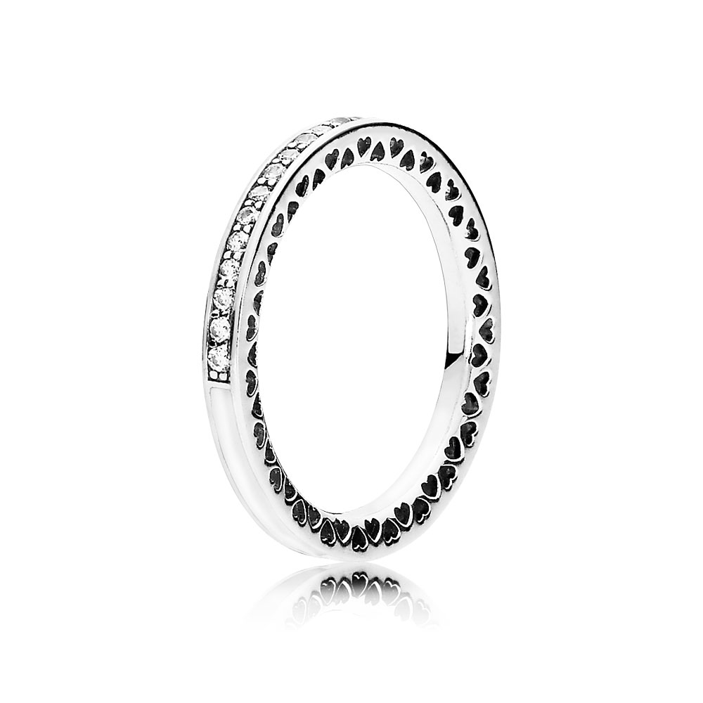 Radiant Hearts of PANDORA, Silver Enamel & Clear CZ