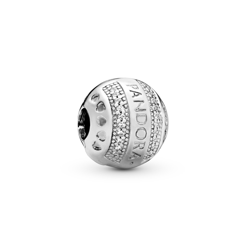Clip Cœurs à logo de PANDORA, cz incolore, Argent sterling, Silicone, Aucune couleur, Zircon cubique - PANDORA - #797433CZ