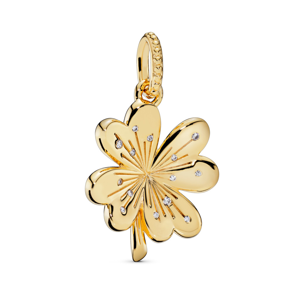 Lucky Four-Leaf Clover Pendant, 18ct gold-plated sterling silver, Cubic Zirconia - PANDORA - #367935CZ