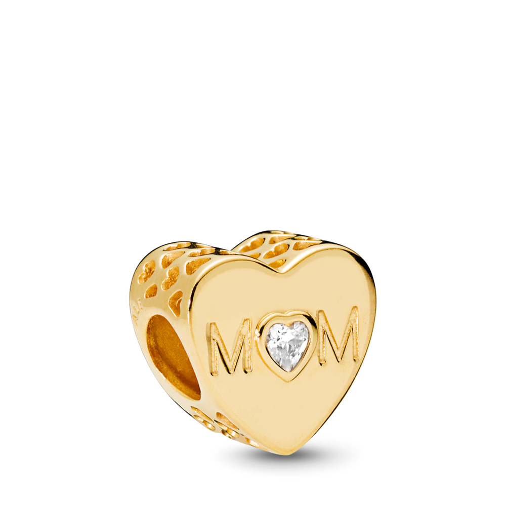 Mother Heart, PANDORA Shine™ & Clear CZ, 18ct gold-plated sterling silver, Cubic Zirconia - PANDORA - #761881CZ