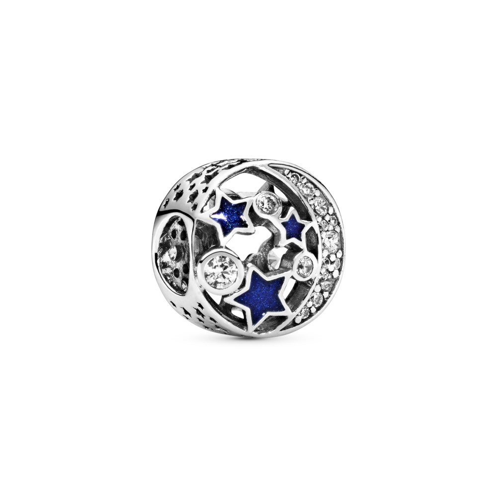 Nuit étoilée d'antan, émail scintillant bleu de minuit et CZ incolore, Argent sterling, émail, Bleu, Zircon cubique - PANDORA - #791992CZ