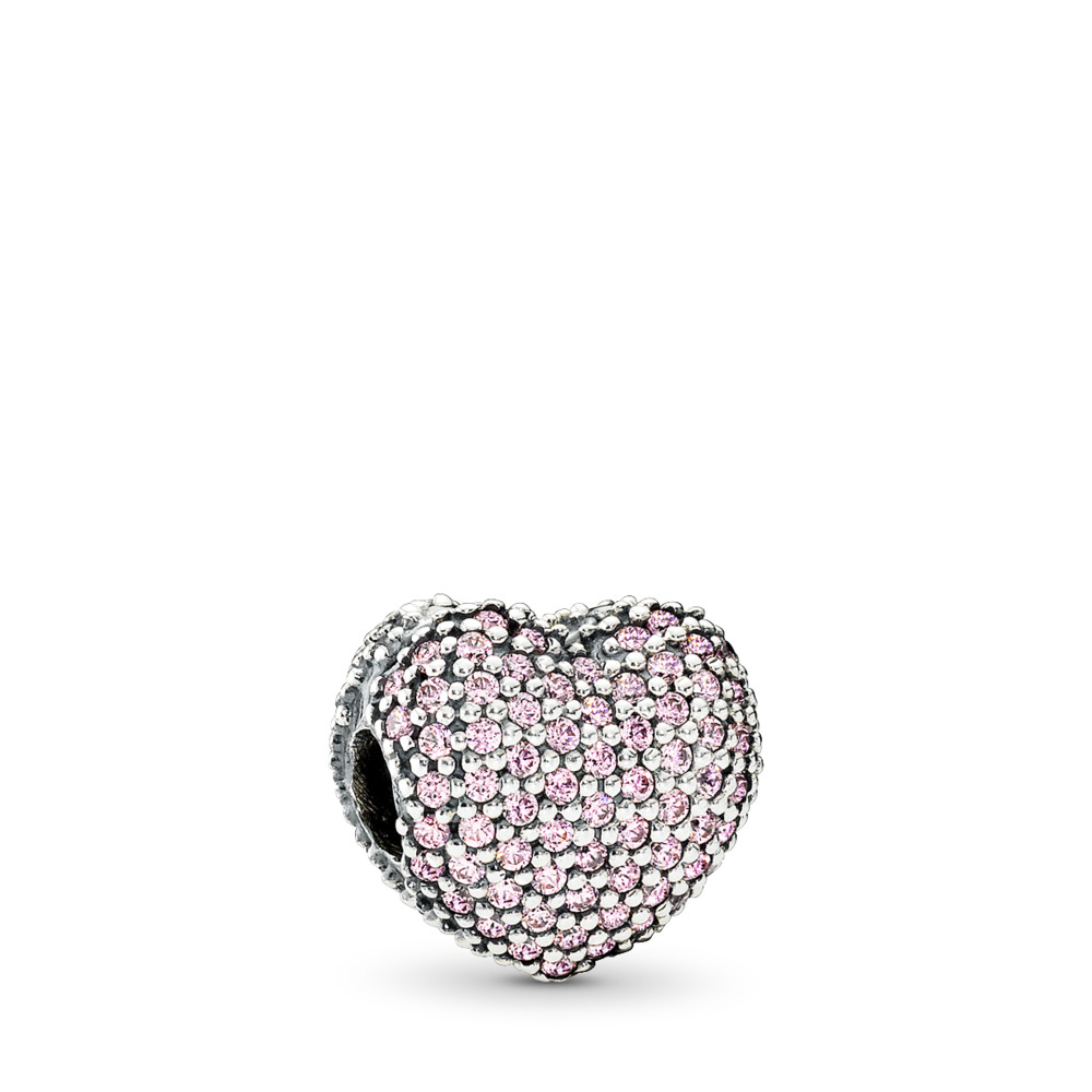 Pavé Open My Heart, Clear CZ, Sterling silver, Pink, Cubic Zirconia - PANDORA - #791427PCZ