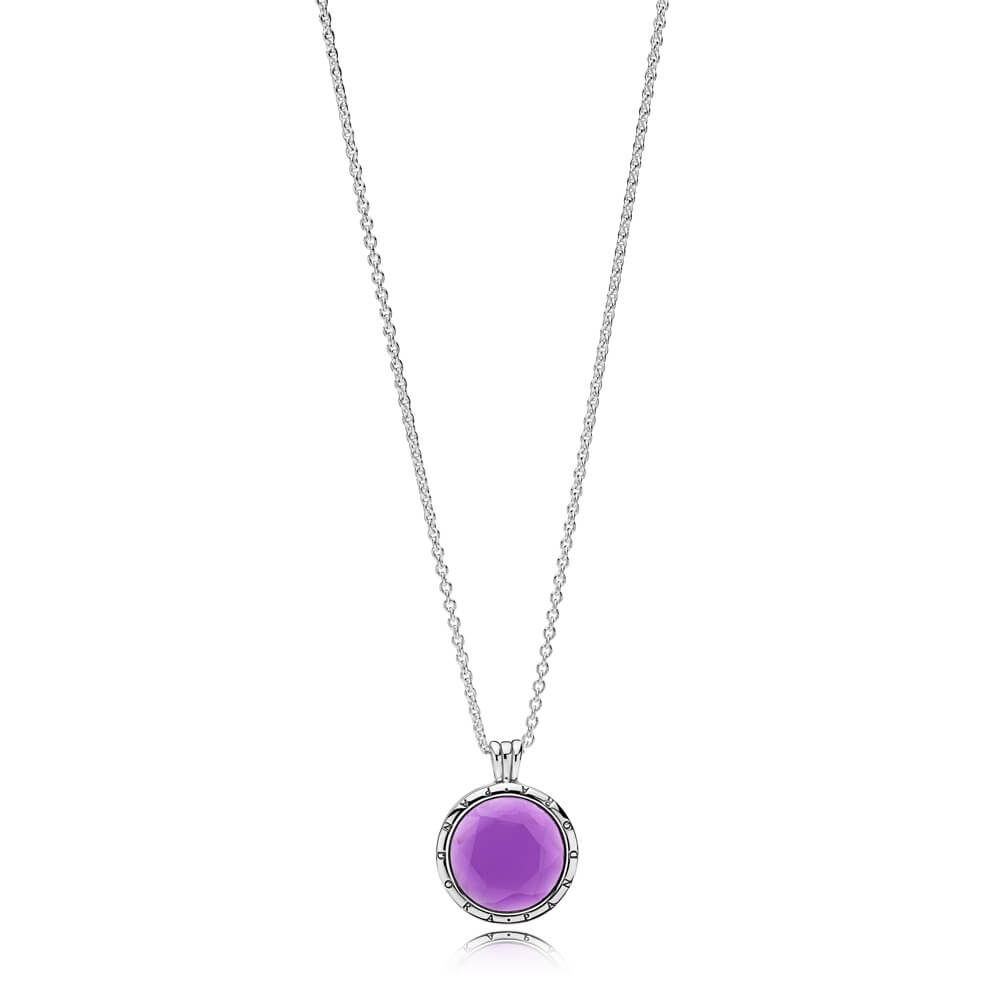 Limited Edition PANDORA Faceted Floating Locket Necklace, Synthetic Amethyst
