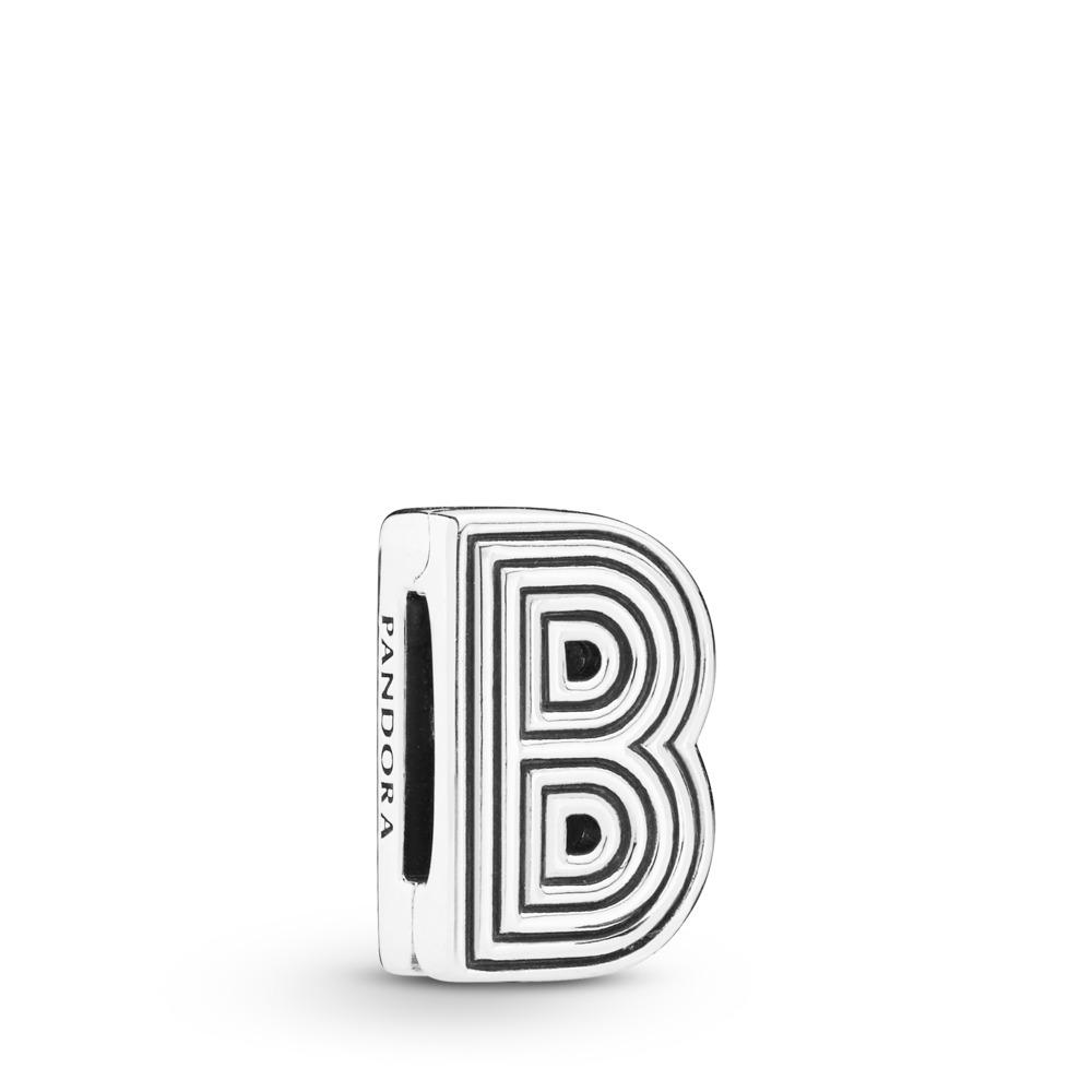 Charm Lettre B Pandora Reflexions, Argent sterling, Silicone, Aucune couleur, Aucune pierre - PANDORA - #798198