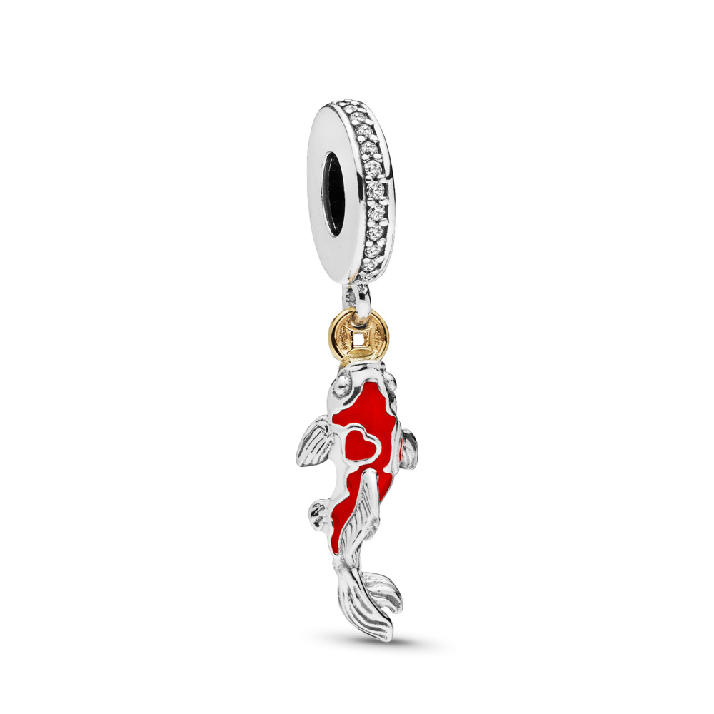Good Fortune Carp Dangle Charm, Two Tone, Enamel, Cubic Zirconia - PANDORA - #797829CZ