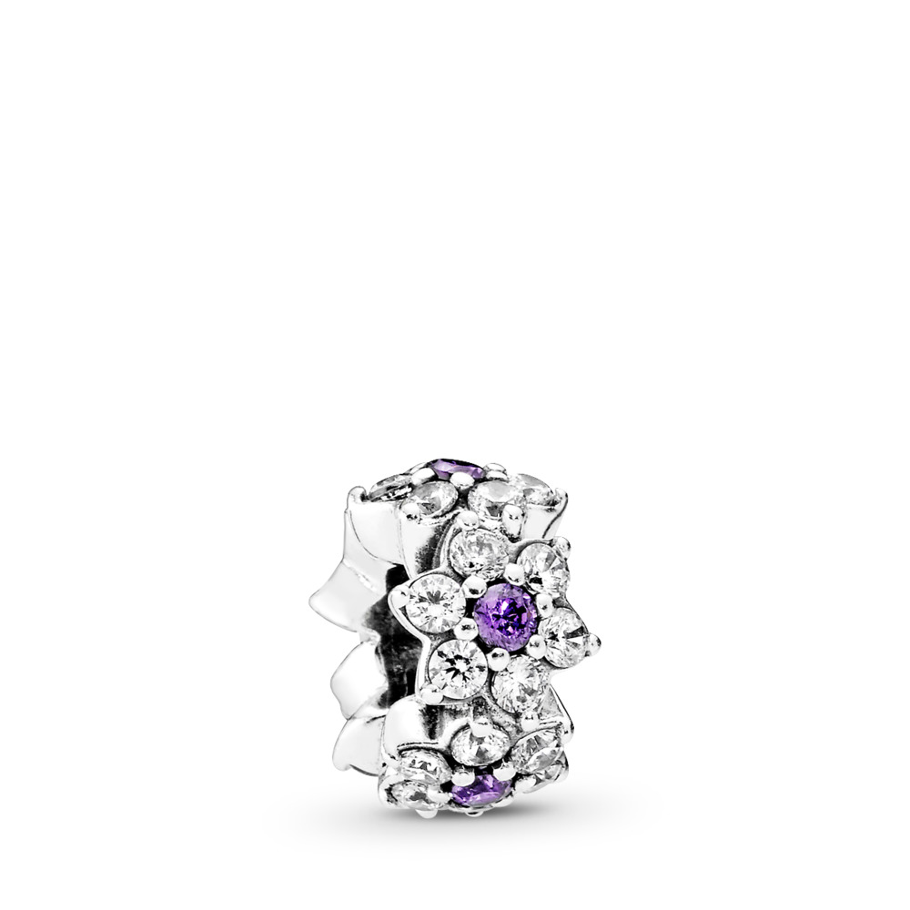 Forget Me Not, Purple & Clear CZ, Sterling silver, Purple, Cubic Zirconia - PANDORA - #791834ACZ