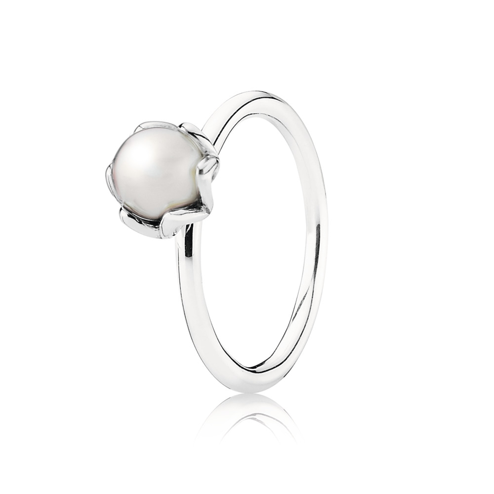 Silver ring with white freshwater cultured pearl, Argent sterling, Aucun autre matériel, Aucune couleur, Perle de culture d'eau douce - PANDORA - #190865P