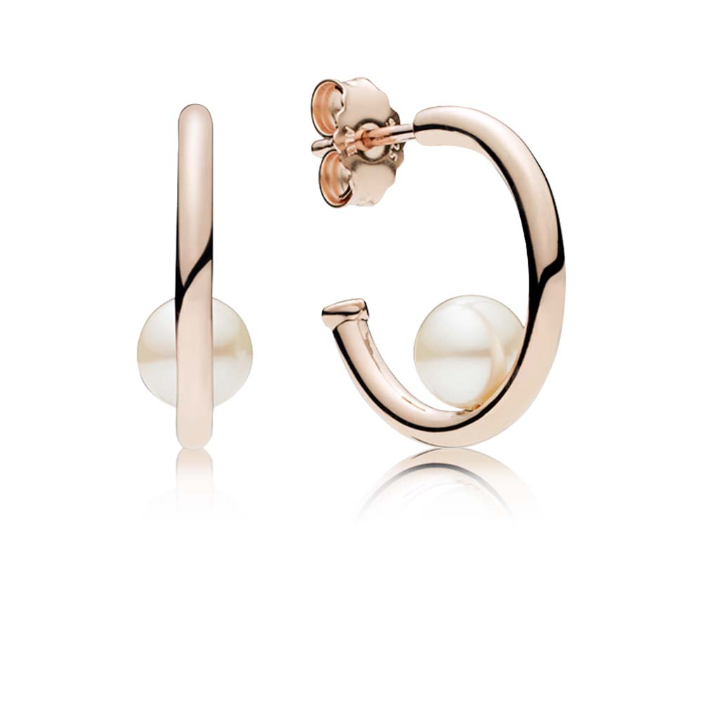 Contemporary Pearls Hoop Earrings, PANDORA Rose™
