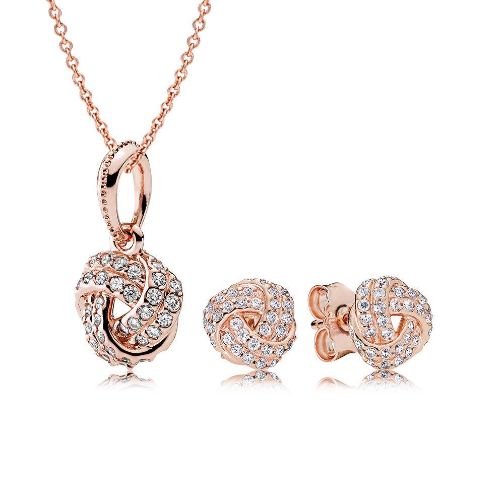 Sparkling Love Knot Pandora Rose™ Jewellery Set, PANDORA Rose™ - PANDORA - #CS1730