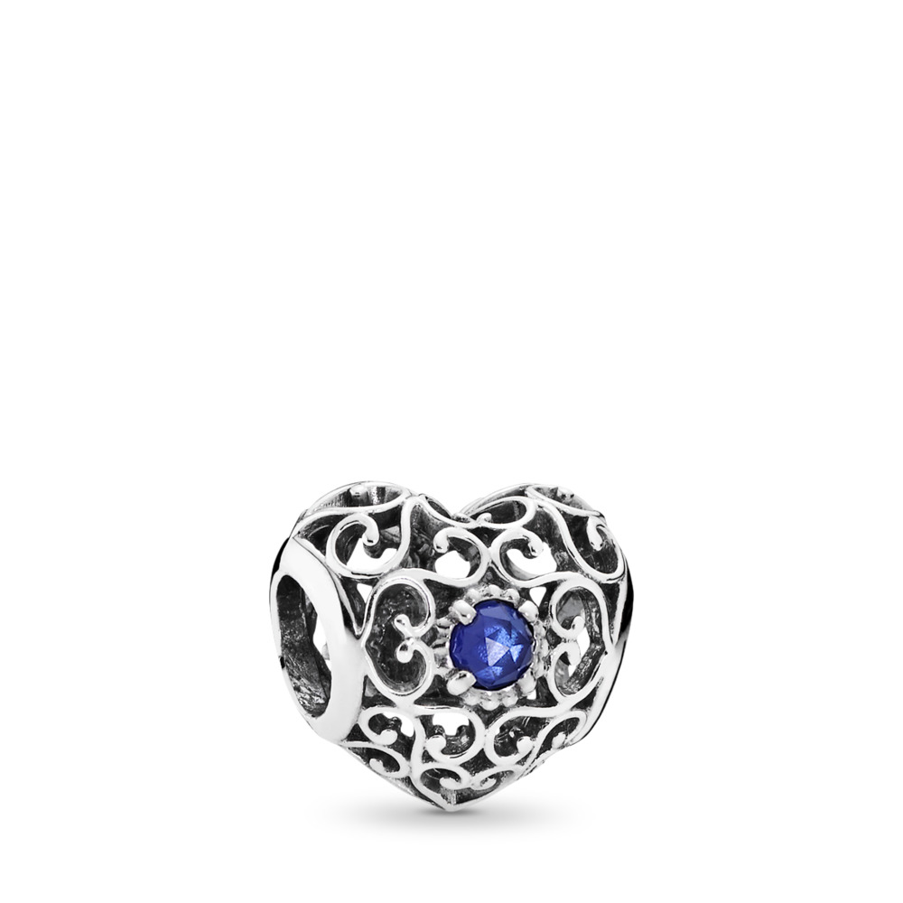 September Signature Heart, Synthetic Sapphire, Sterling silver, Blue, Synthetic sapphire - PANDORA - #791784SSA