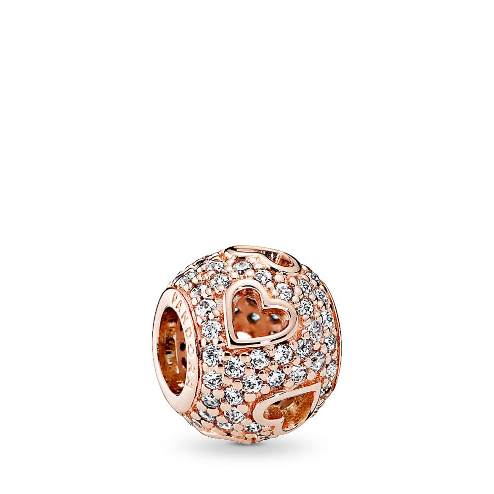 Tumbling Hearts, PANDORA Rose™ & Clear CZ, PANDORA Rose, Cubic Zirconia - PANDORA - #781426CZ