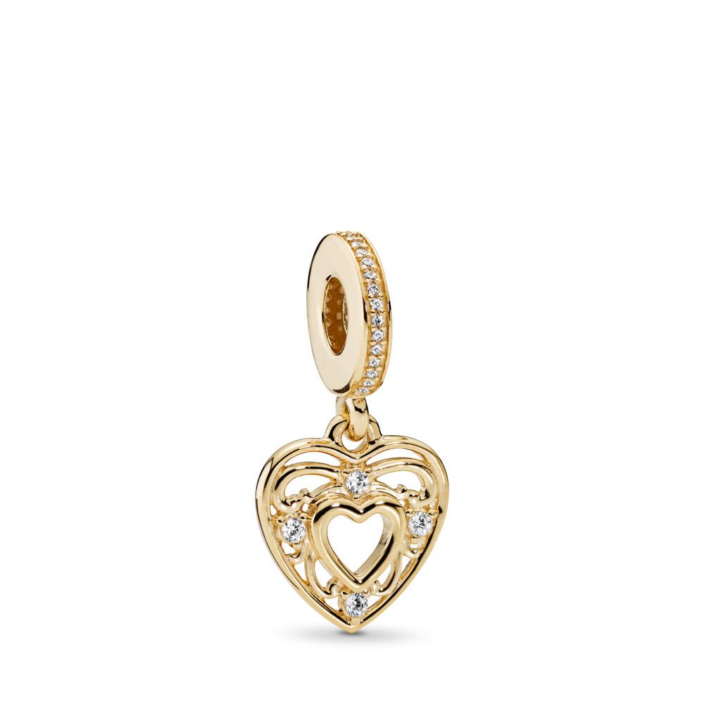 Romantic Heart, Clear CZ, Yellow Gold 14 k, Cubic Zirconia - PANDORA - #751001CZ