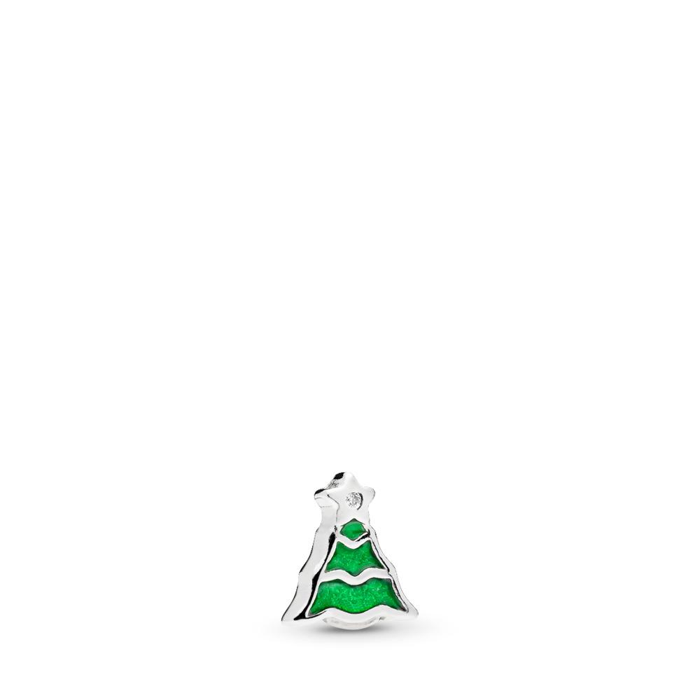 Christmas Tree Petite Charm, Green Enamel & Clear CZ, Sterling silver, Enamel, Green, Cubic Zirconia - PANDORA - #796395EN25