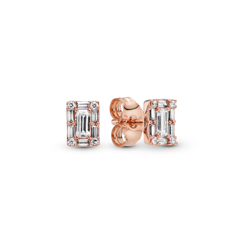 Luminous Ice Stud Earrings, PANDORA Rose™, PANDORA Rose, Cubic Zirconia - PANDORA - #287567CZ