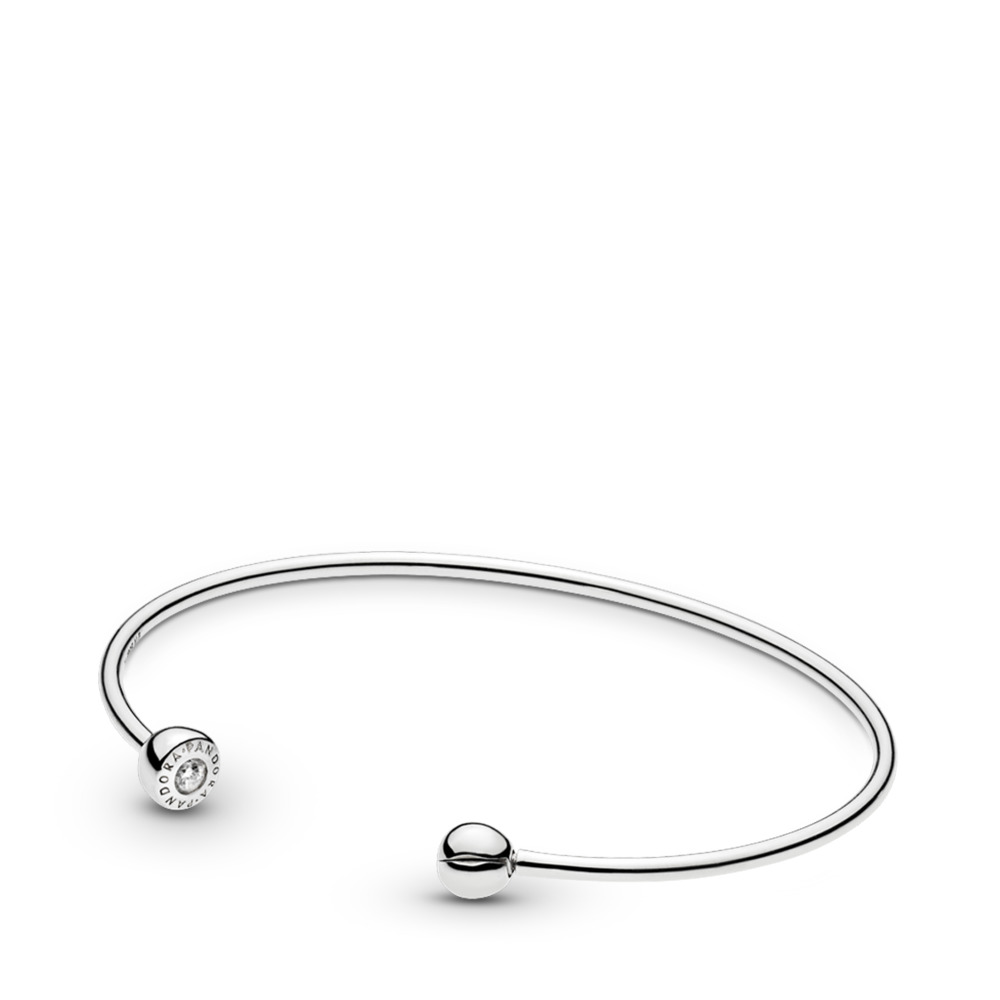 ESSENCE Silver Open Bangle, Clear CZ, Sterling silver, Cubic Zirconia - PANDORA - #597229CZ