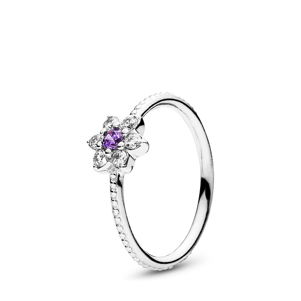 Forget Me Not, Purple & Clear CZ, Sterling silver, Purple, Cubic Zirconia - PANDORA - #190990ACZ