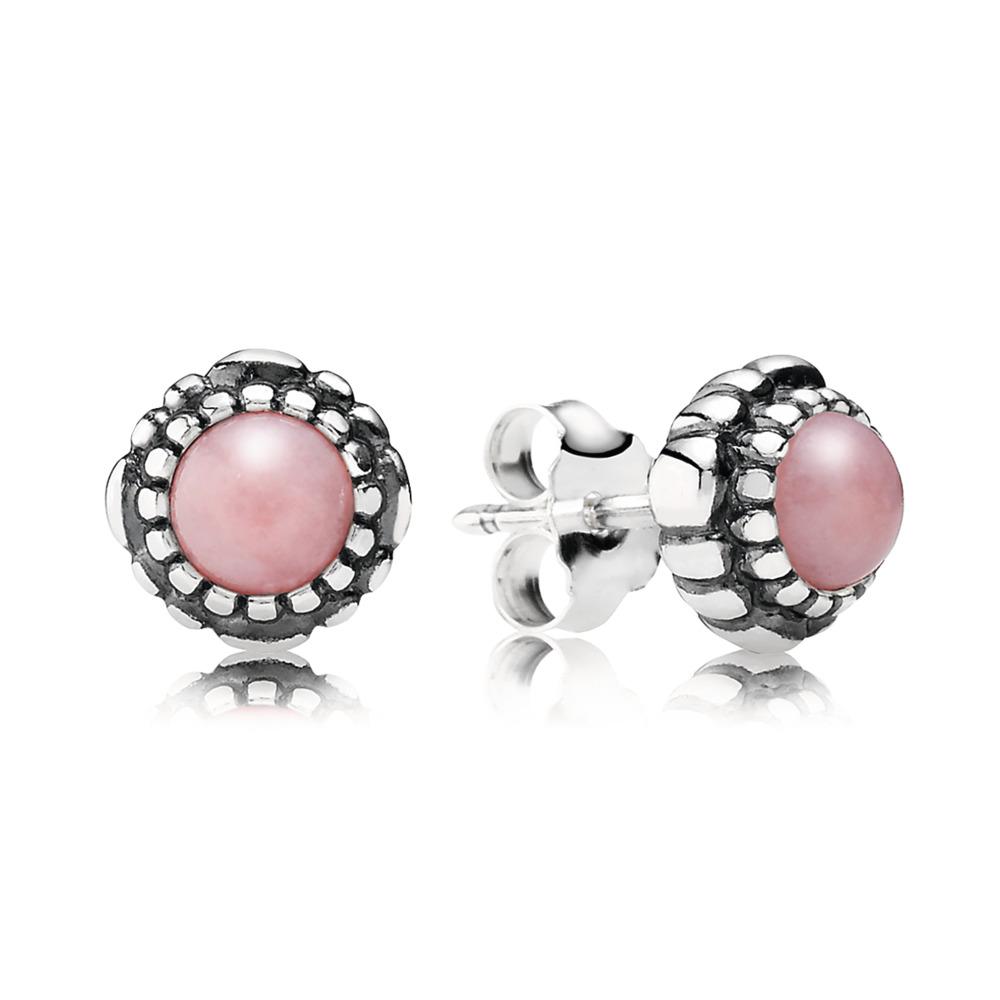 Birthday Blooms Earrings, October, Pink Opal