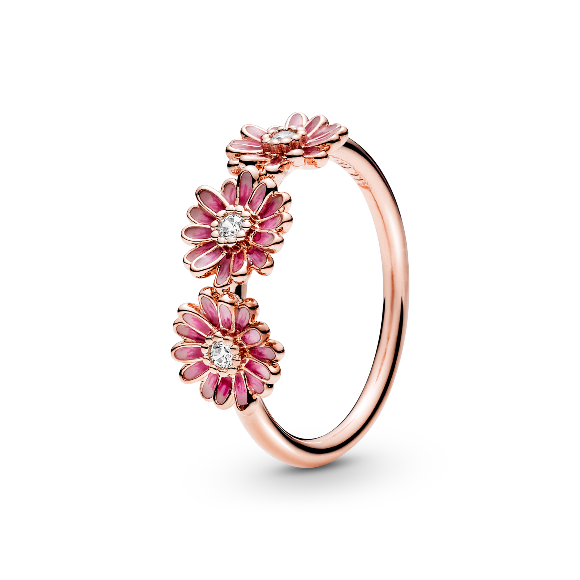 Pink Daisy Flower Trio Ring