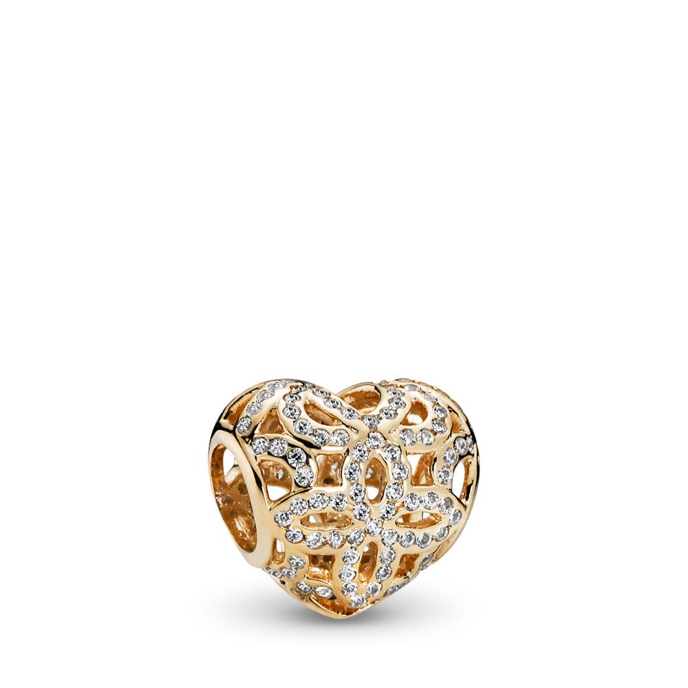 Love & Appreciation, Clear CZ, Yellow Gold 14 k, Cubic Zirconia - PANDORA - #750837CZ