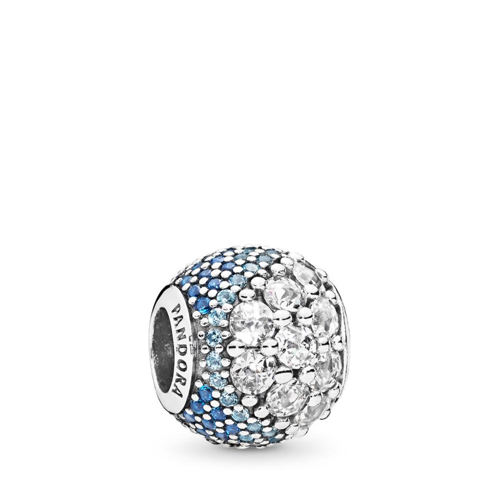 Blue Enchanted Pavé Charm, Blue & Clear CZ, Sterling silver, Blue, Mixed stones - PANDORA - #797032NABMX