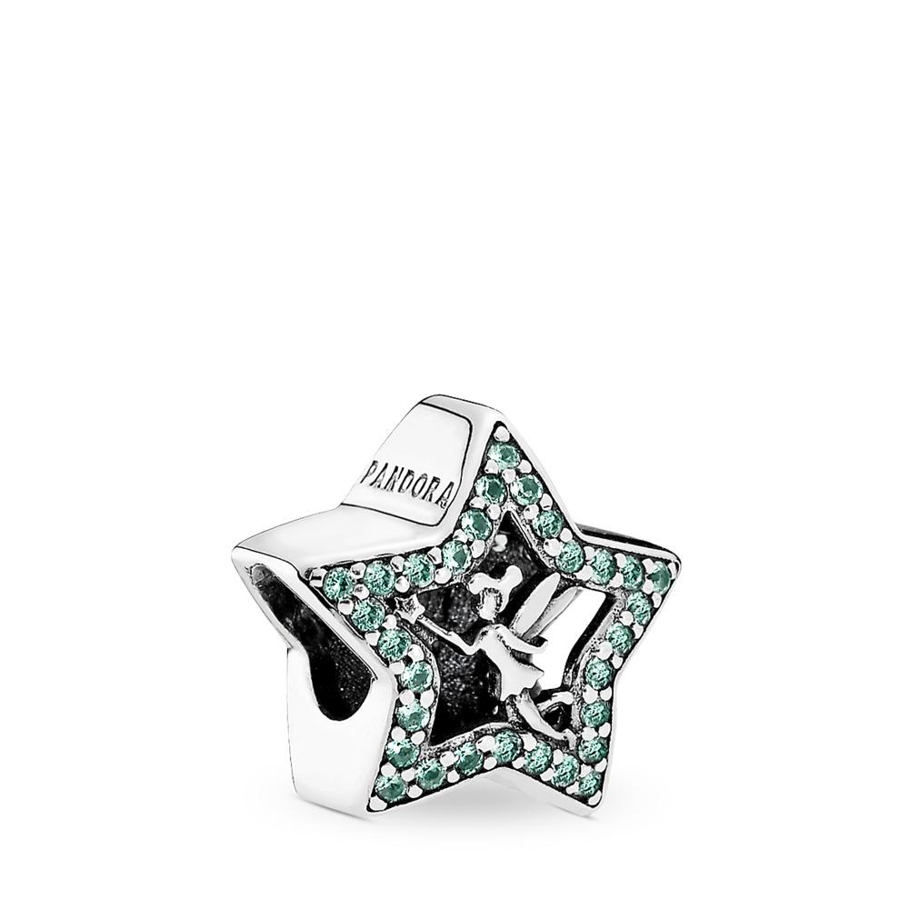 Disney, Étoile de la fée Clochette, Argent sterling, Aucun autre matériel, Vert, Cristal - PANDORA - #791920NPG