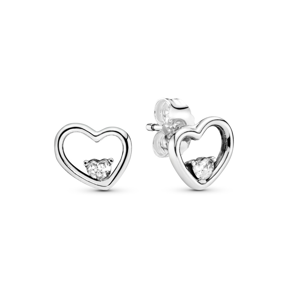 Asymmetric Hearts of Love Stud Earrings, Sterling silver, Cubic Zirconia - PANDORA - #297813CZ
