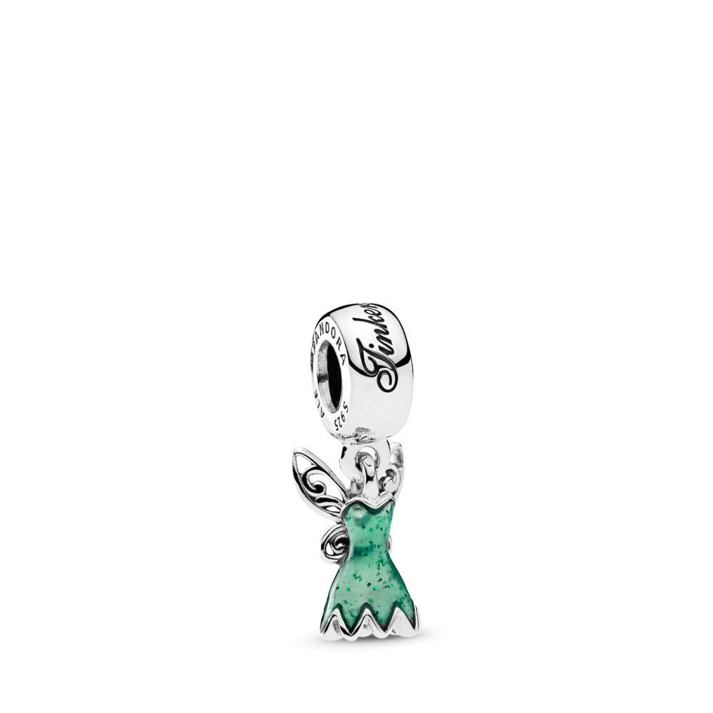 Disney, robe de la fée Clochette, Argent sterling, émail, Vert, Aucune pierre - PANDORA - #792138EN93