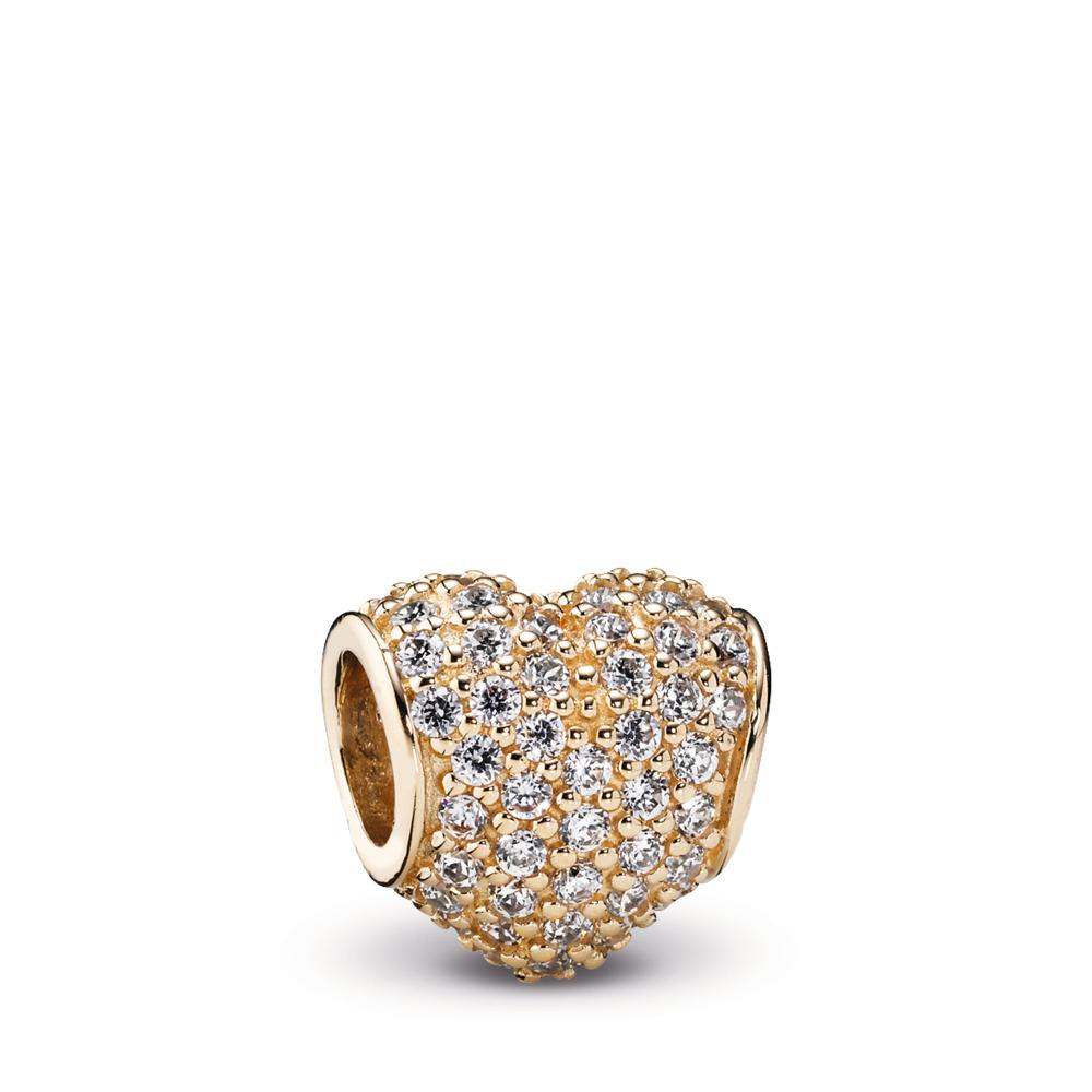 Pavé Heart, Clear CZ & 14K Gold, Yellow Gold 14 k, Cubic Zirconia - PANDORA - #750828CZ