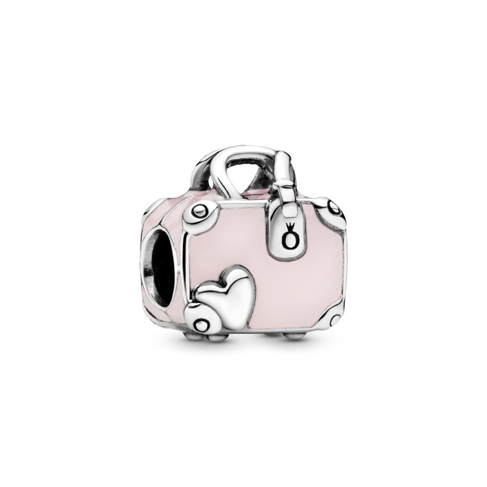 Charm Sac de voyage rose, Argent sterling, émail, Rose, Aucune pierre - PANDORA - #798063EN124