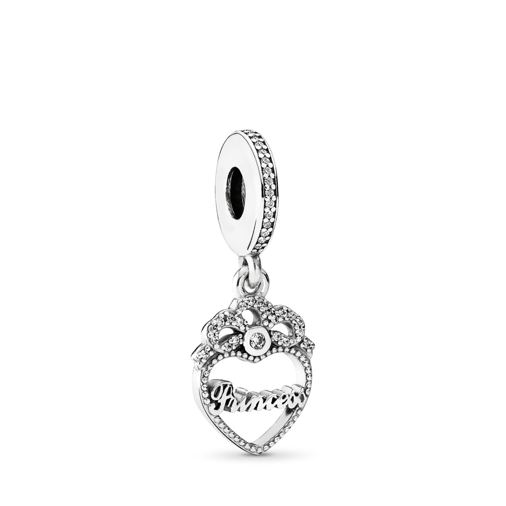 Princess Crown Heart, Clear CZ