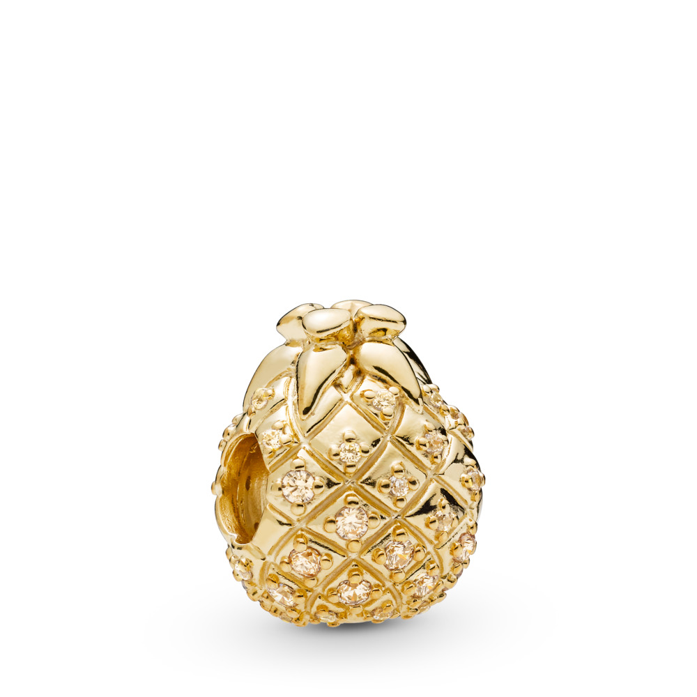 Golden Pineapple Charm, 18ct gold-plated sterling silver, Gold, Cubic Zirconia - PANDORA - #767904CCZ