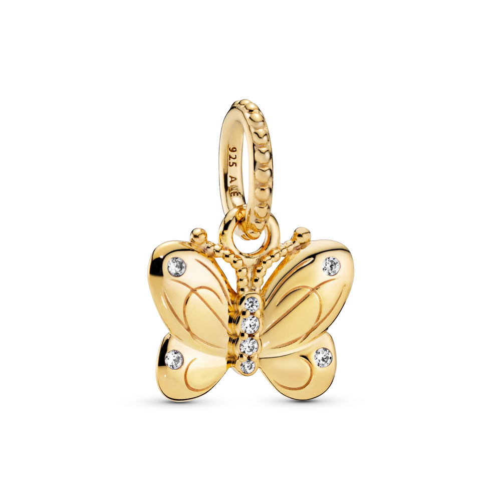 Decorative Butterfly Pendant, 18ct gold-plated sterling silver, Cubic Zirconia - PANDORA - #367962CZ