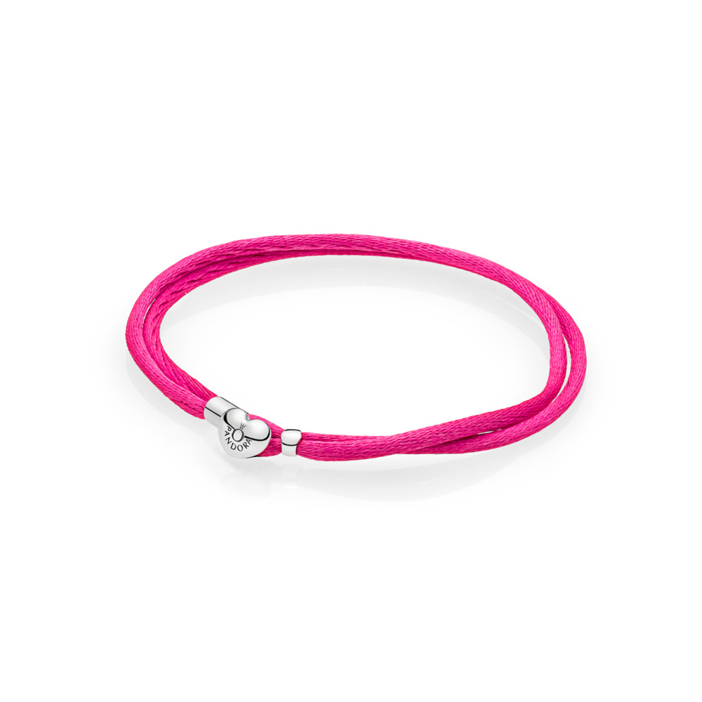 Fabric Cord Bracelet, Hot Pink, Sterling silver, Textile/ synthetical fibers, Pink - PANDORA - #590749CPH-S