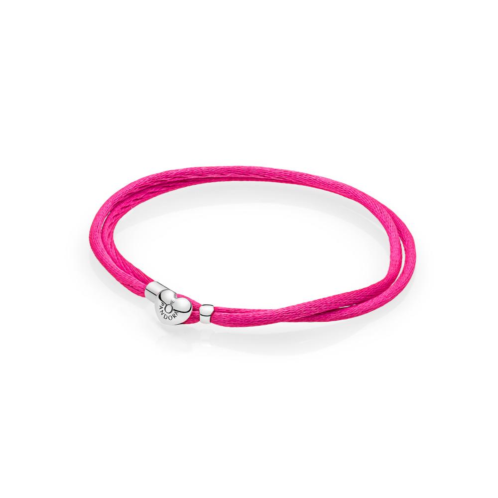 Bracelet-cordonnet en tissu, rose vif, Argent sterling, Textile/ fibres synthétiques, Rose, Aucune pierre - PANDORA - #590749CPH-S