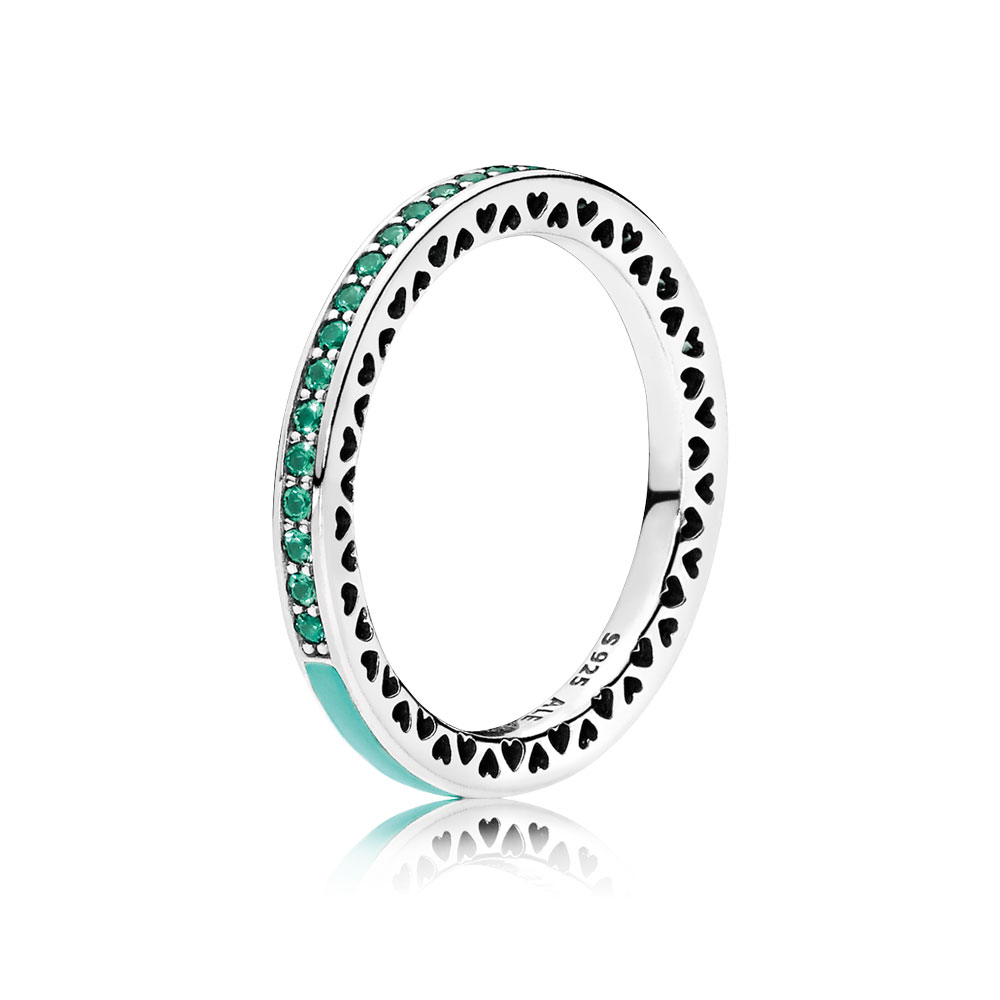 Radiant Hearts of PANDORA, Bright Mint Enamel & Royal Green Crystals
