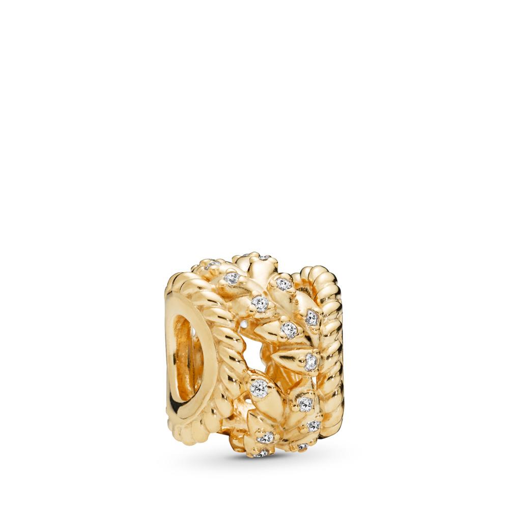 Dazzling Grain Swirls Charm, PANDORA Shine™ & Clear CZ, 18ct gold-plated sterling silver, Cubic Zirconia - PANDORA - #767597CZ
