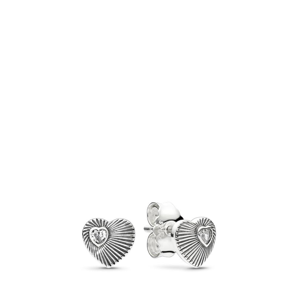 Cœurs en éventail rétro, cz incolore, Argent sterling, Aucun autre matériel, Aucune couleur, Zircon cubique - PANDORA - #297298CZ