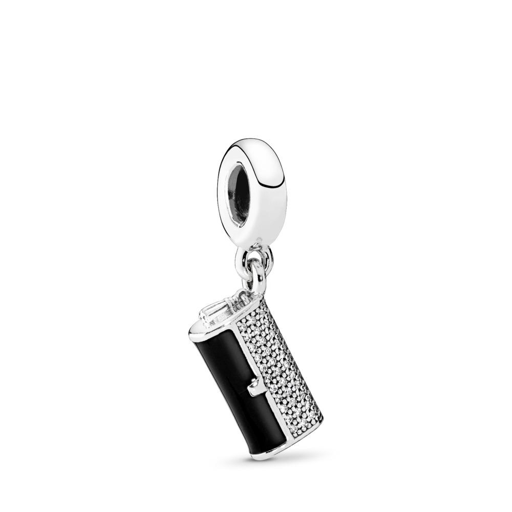 Clutch Bag, Black Enamel & Clear CZ, Sterling silver, Enamel, Black, Cubic Zirconia - PANDORA - #792155CZ