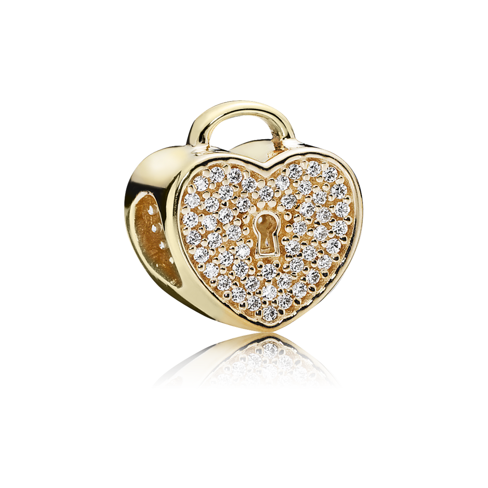 Heart Lock, Clear CZ & 14K Gold