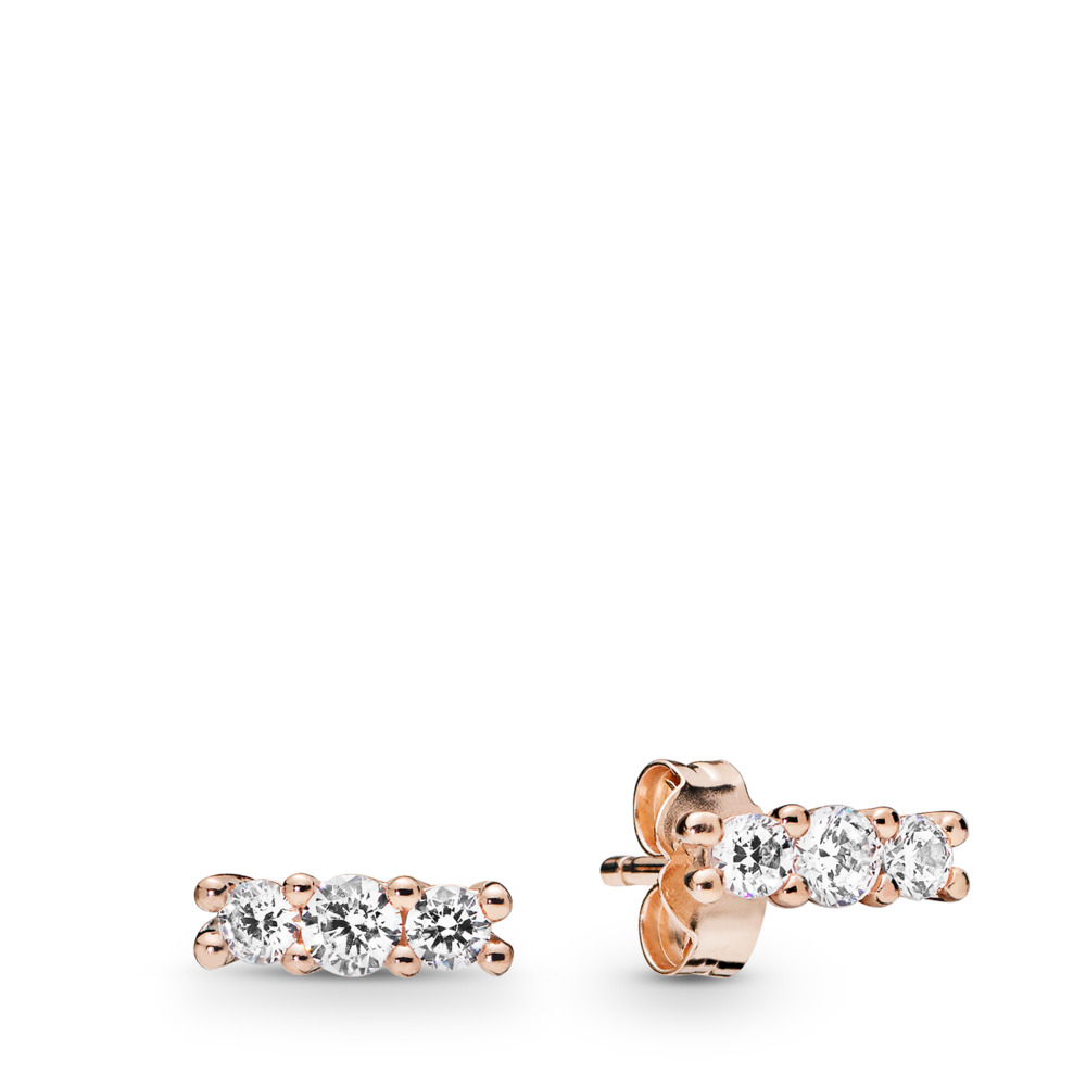 Sparkling Elegance Stud Earrings, PANDORA Rose, Cubic Zirconia - PANDORA - #280725CZ
