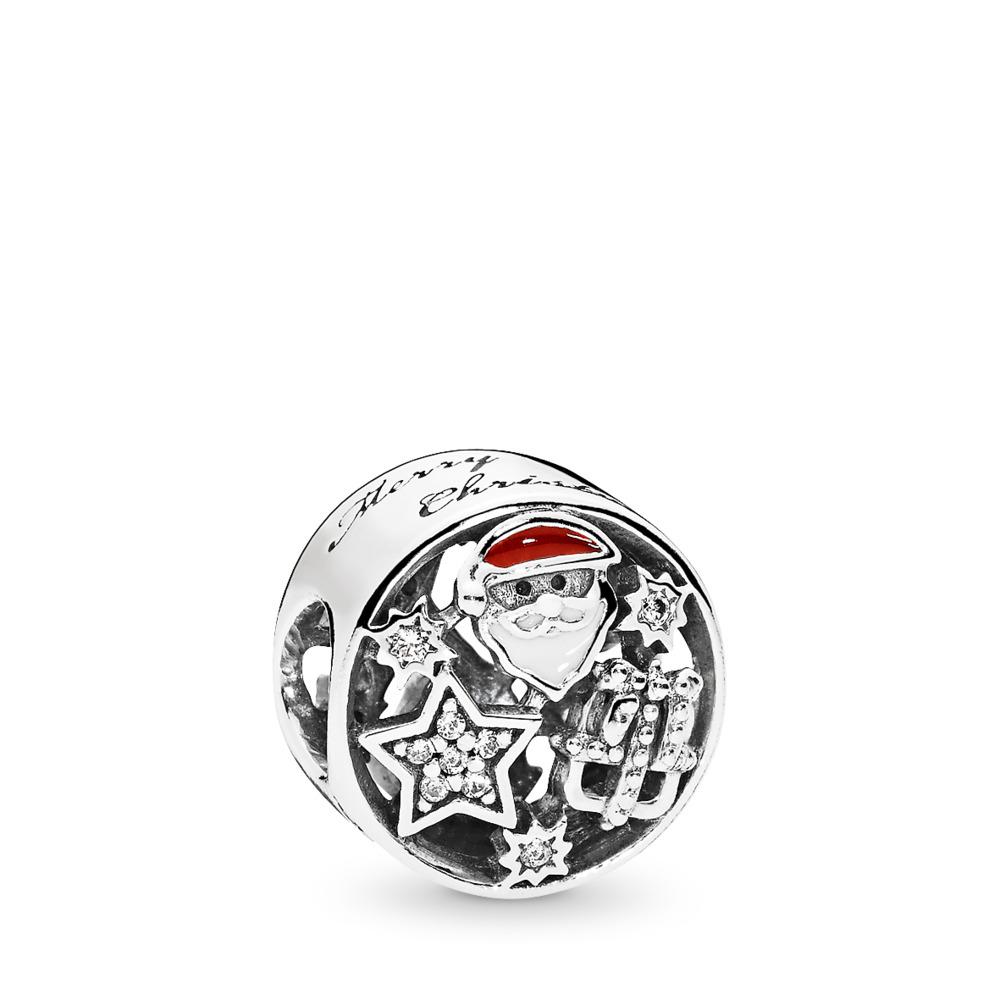 Christmas Joy Charm, Mixed Enamel & Clear CZ, Sterling silver, Enamel, Red, Cubic Zirconia - PANDORA - #796364CZ
