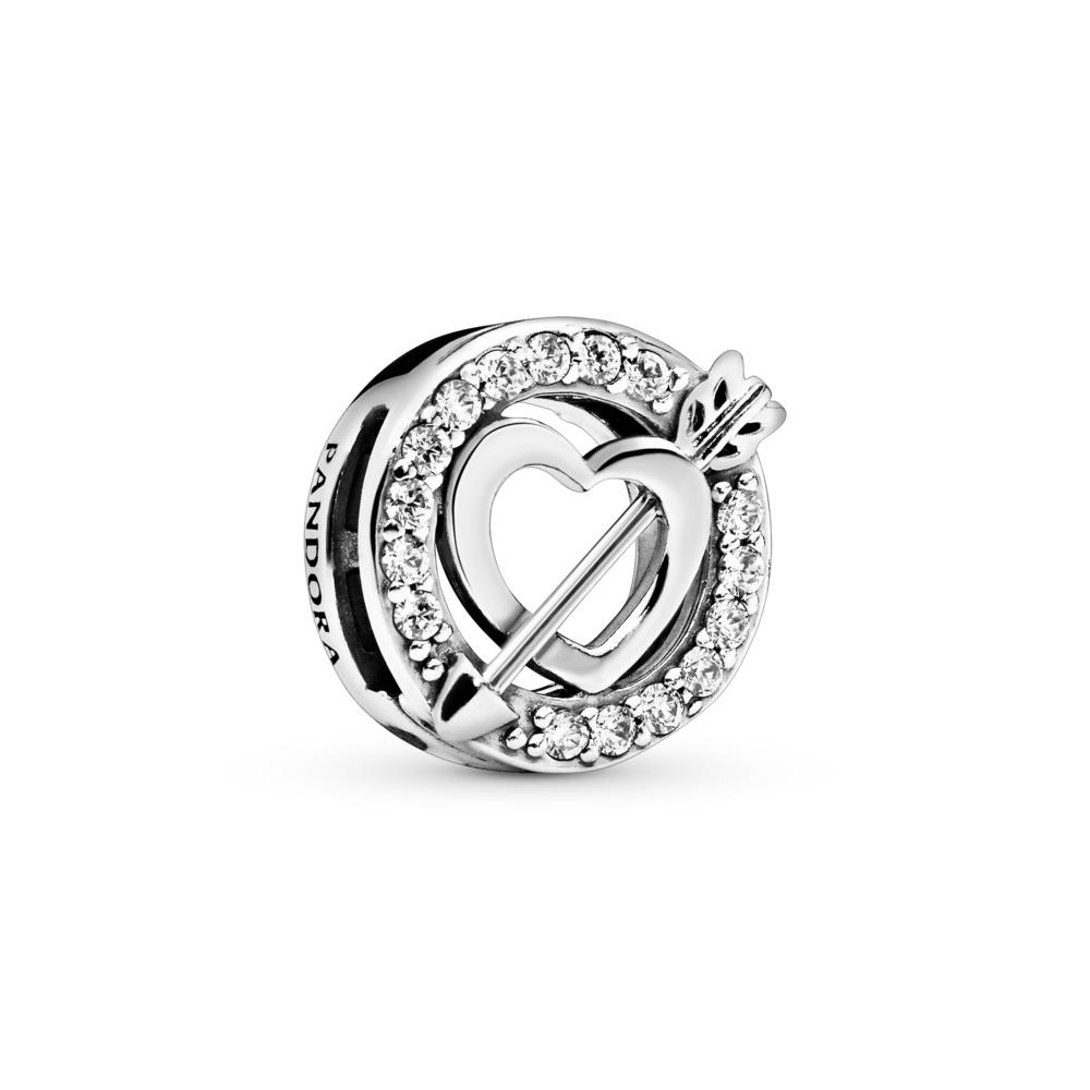Charm Cœur asymétrique et flèche PANDORA Reflexions, Argent sterling, Silicone, Aucune couleur, Zircon cubique - PANDORA - #797793CZ
