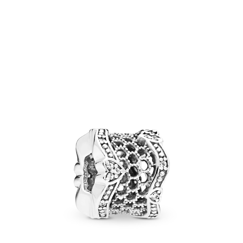 Lace of Love Spacer, Clear CZ, Sterling silver, Cubic Zirconia - PANDORA - #797653CZ