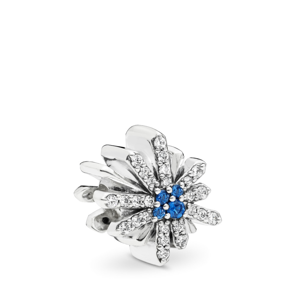 Dazzling Fireworks Charm, Sterling silver, Blue, Mixed stones - PANDORA - #797518NCB