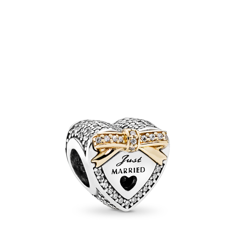 Wedding Heart, Clear CZ, Two Tone, Cubic Zirconia - PANDORA - #792083CZ