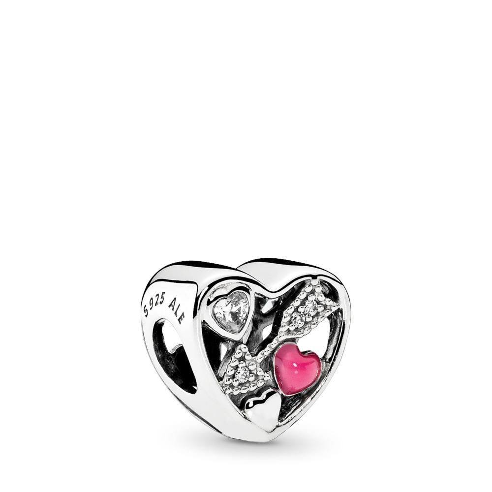 Struck By Love, Magenta Enamel & Clear CZ, Sterling silver, Enamel, Pink, Cubic Zirconia - PANDORA - #792039CZ