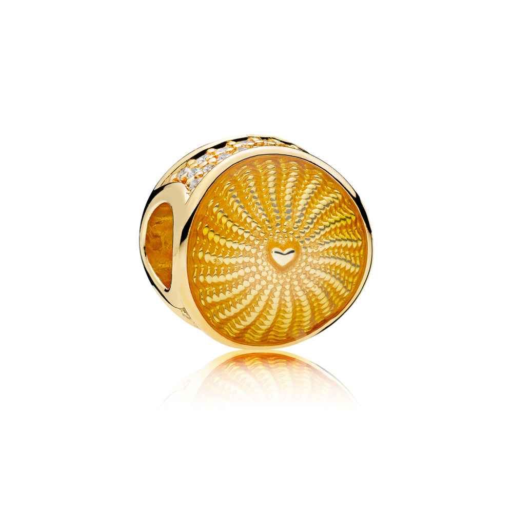 Limited Edition Rays of Sunshine Charm, PANDORA Shine™, 18ct gold-plated sterling silver, Enamel, Yellow, Cubic Zirconia - PANDORA - #767128EN158